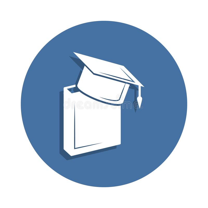 Book and bachelor hat icon in badge style. One of education collection icon can be used for UI UX. On white background royalty free illustration