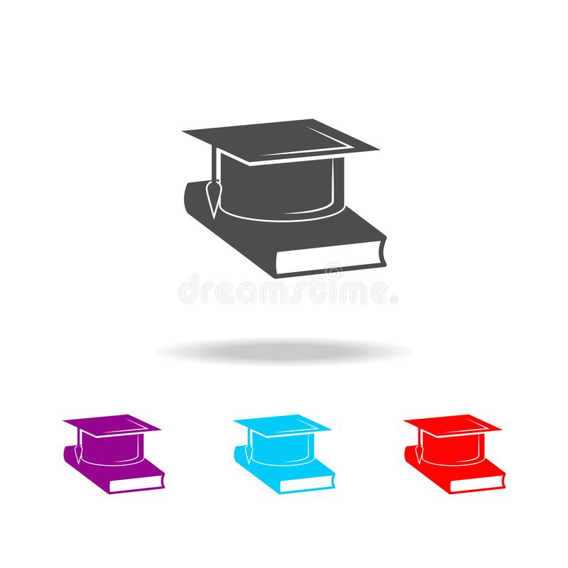 Book and bachelor hat icon. Elements of education in multi colored icons. Premium quality graphic design icon. Simple. Icon for websites, web design, mobile app royalty free illustration