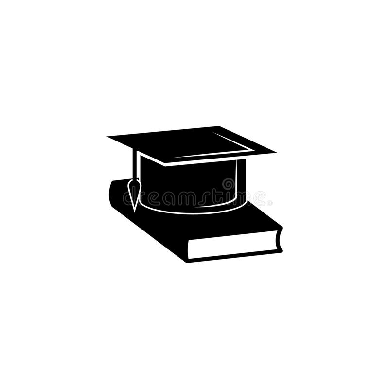Book and bachelor hat icon. Vector graduation Icon. Education, academic degree. Premium quality graphic design. Signs, outline symbols collection, simple icon royalty free illustration