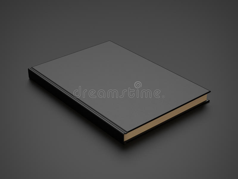 Book with black blank cover. 3d render royalty free illustration