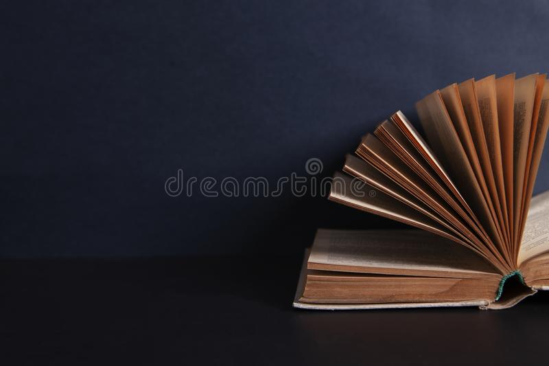 Book on the black table stock photo