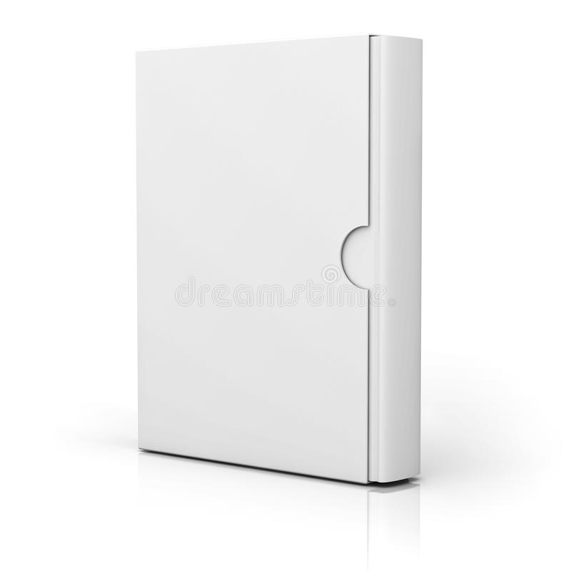 Book with blank box cover standing over white stock illustration