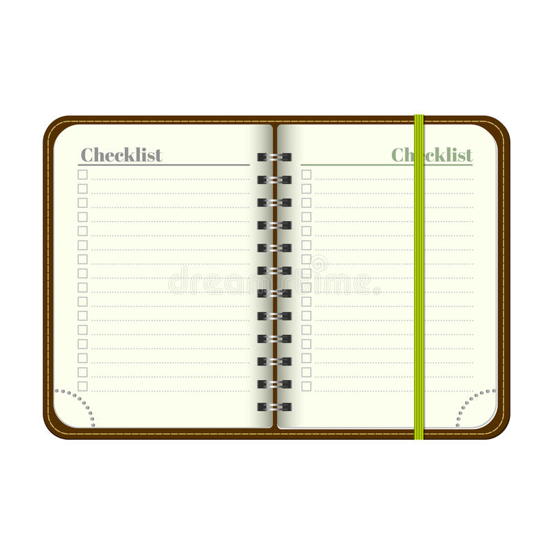 Book with blank checklist. Template Open a blank notepad. Vector personal organiger with bookmark. on white background. M royalty free illustration