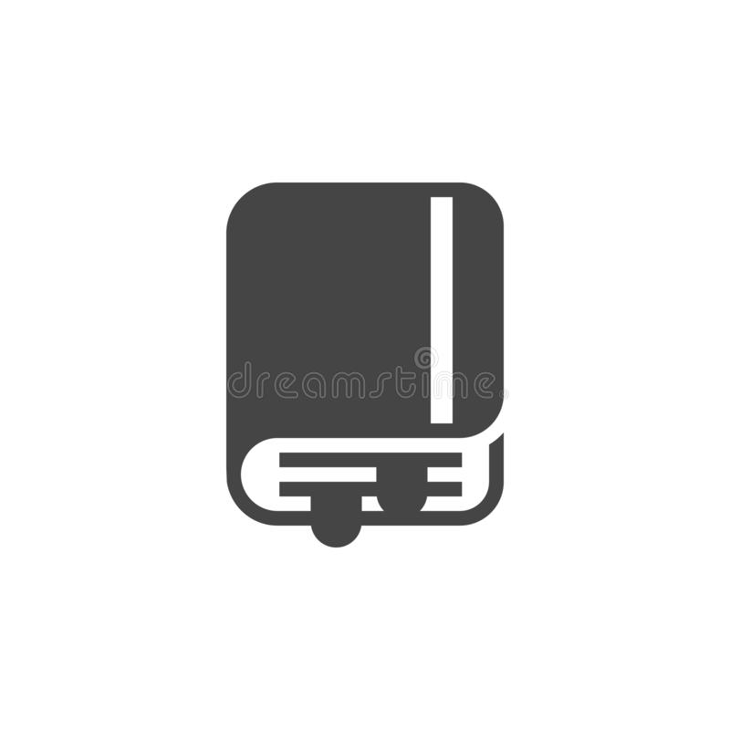 Book with bookmark flat icon. Notepad, organizer concept glyph label. Training, education, self-education theme. Vector stock illustration