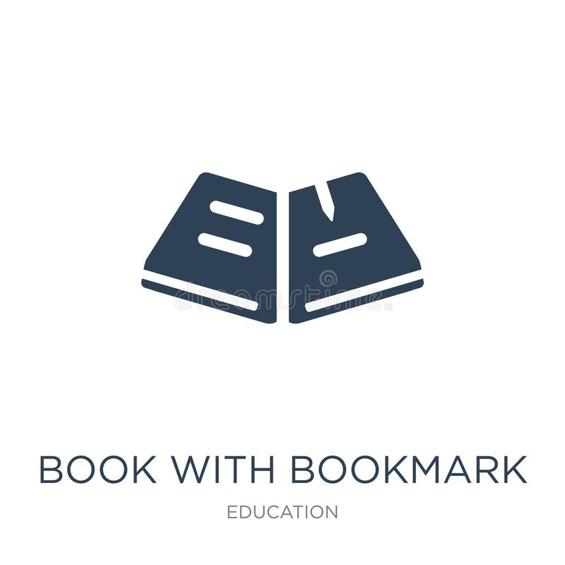 book with bookmark icon in trendy design style. book with bookmark icon isolated on white background. book with bookmark vector royalty free illustration