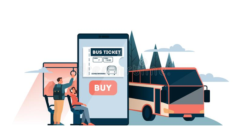 Book a bus ticket online concept. Idea of travel and tourism. stock illustration