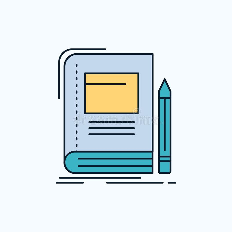 Book, business, education, notebook, school Flat Icon. green and Yellow sign and symbols for website and Mobile appliation. vector stock illustration