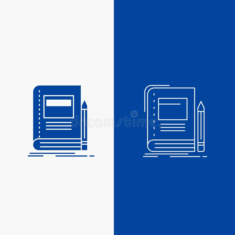 Book, business, education, notebook, school Line and Glyph web Button in Blue color Vertical Banner for UI and UX, website or vector illustration