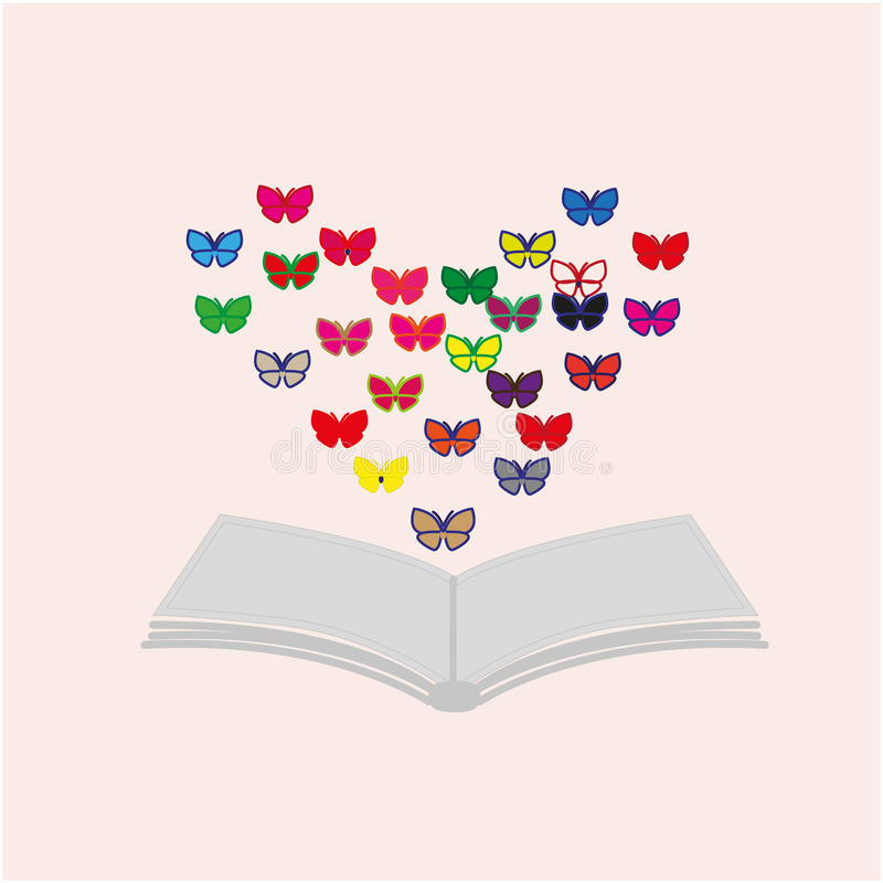 Book and butterflies stock images