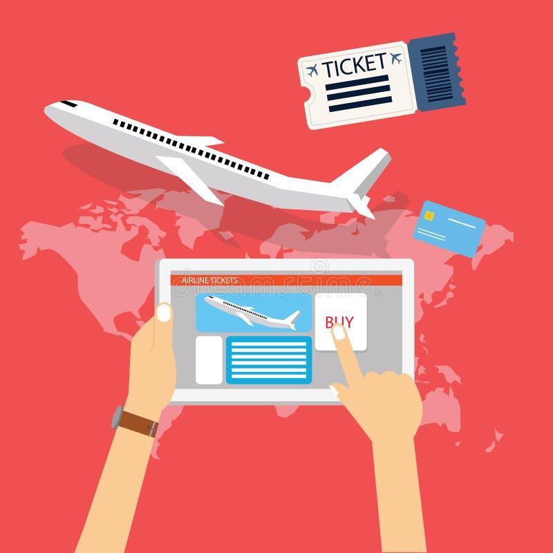 Book buy plane flight ticket online via internet for travel with tablet computer. Vector stock illustration