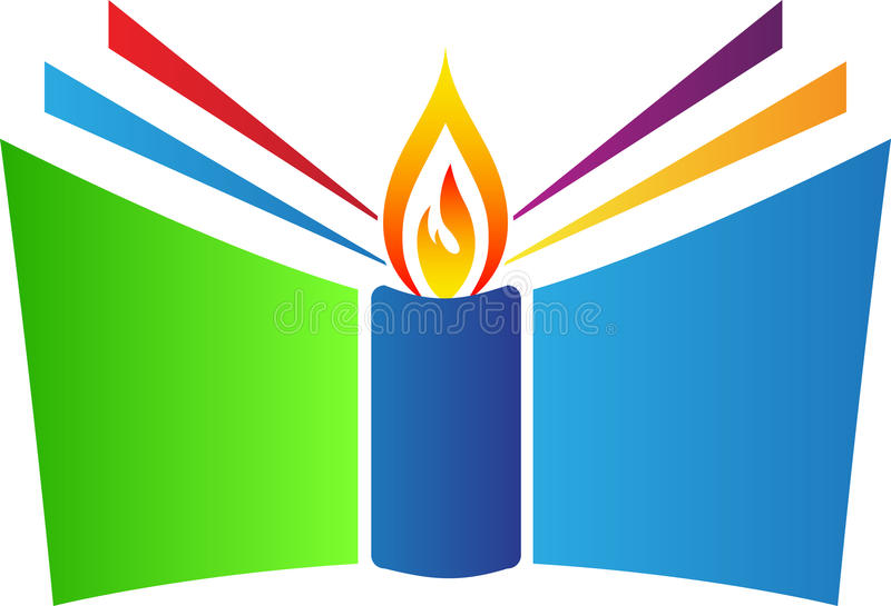 Book with candle vector illustration