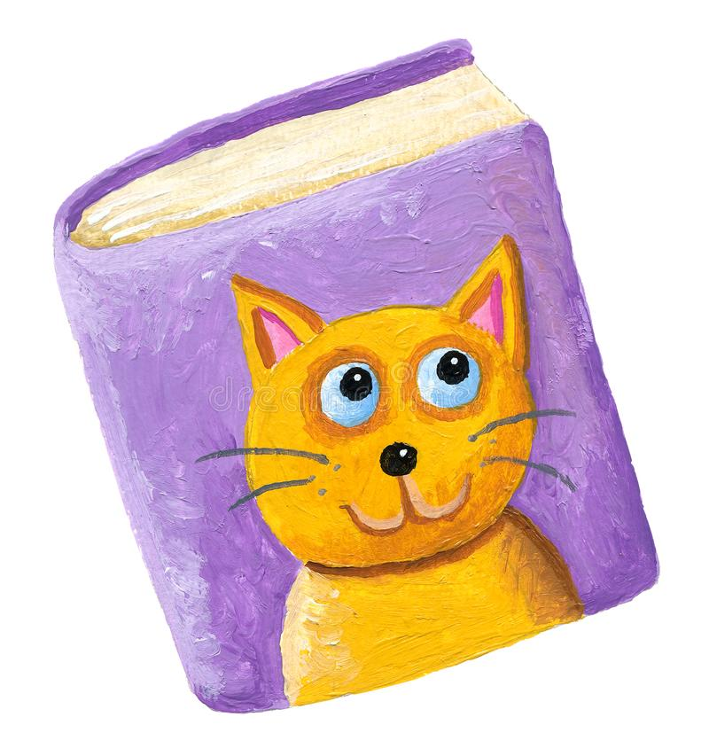 Book about cats. Acrylic illustration of the book for cats stock illustration