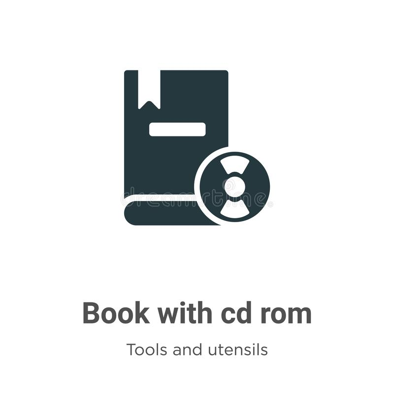 Book with cd rom vector icon on white background. Flat vector book with cd rom icon symbol sign from modern tools and utensils vector illustration