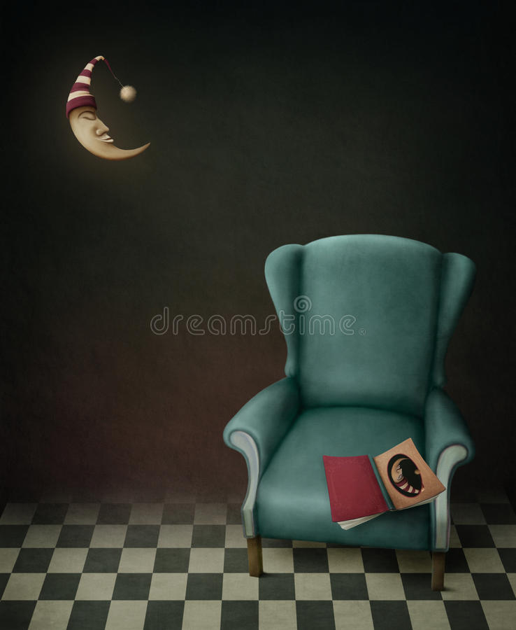 Book, chair and moon. This poster was created from different photo chair book texture as well as painted tiles, the moon and the cap