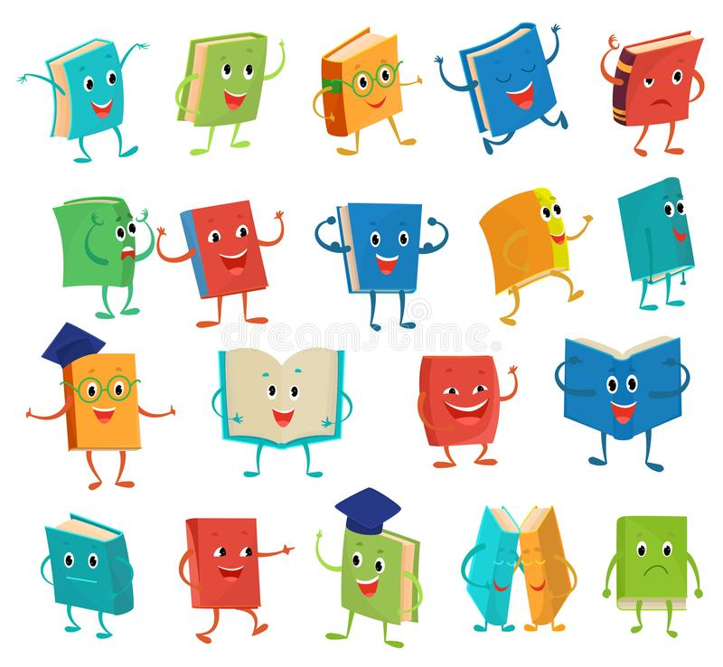 Free Book Character Vector Cartoon Emotion Textbook With Childish Face Expression On Notebook Cover At School Illustration Stock Images - 116071734
