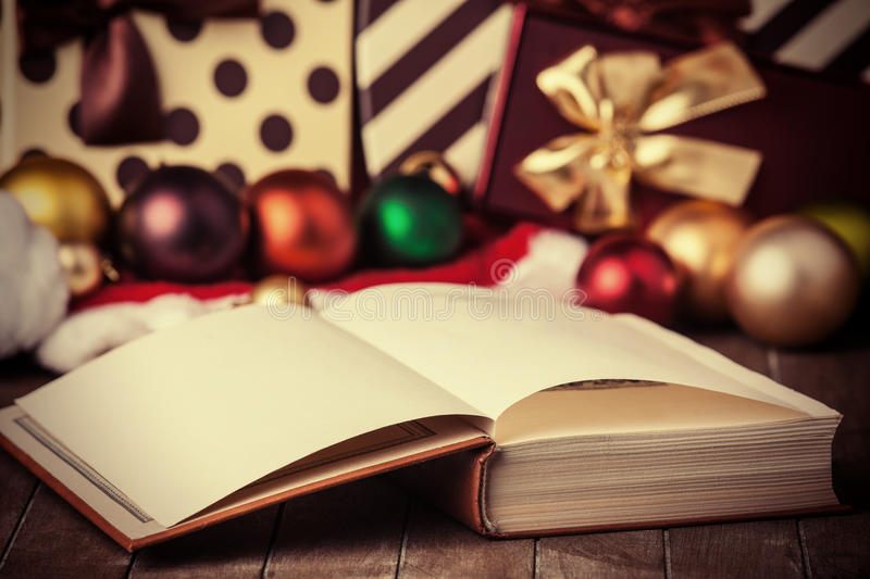 Book and christmas gifts royalty free stock images