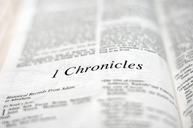 Book of 1 Chronicles. 1 Chronicles, one of 66 books in the Bible royalty free stock image