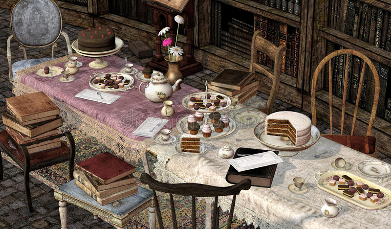Book Clubs,Tea Party, 3D CG. Illustration of books and a tea party in a library stock illustration