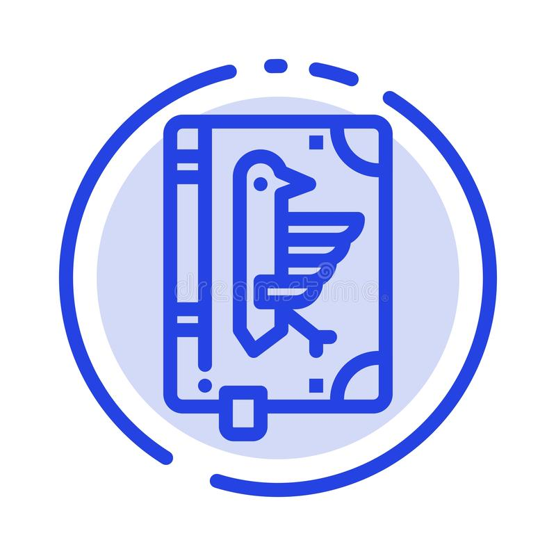 Book, Codex, Constitution, Declaration, Edict Blue Dotted Line Line Icon royalty free illustration