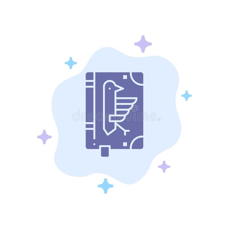 Book, Codex, Constitution, Declaration, Edict Blue Icon on Abstract Cloud Background stock illustration