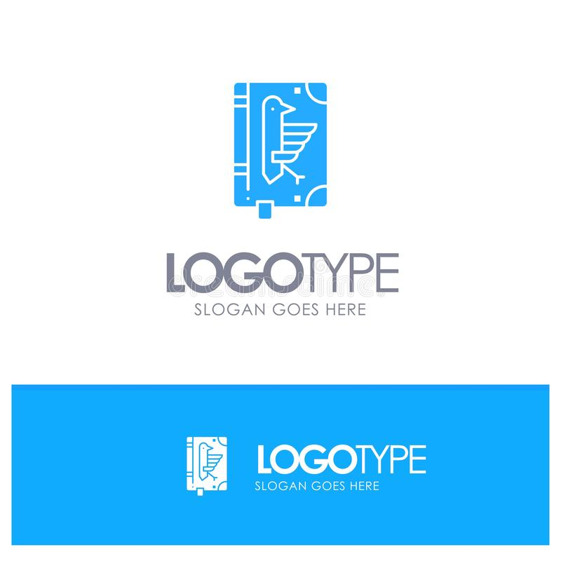 Book, Codex, Constitution, Declaration, Edict Blue Solid Logo with place for tagline vector illustration