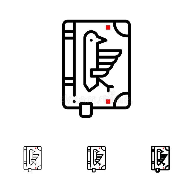 Book, Codex, Constitution, Declaration, Edict Bold and thin black line icon set vector illustration