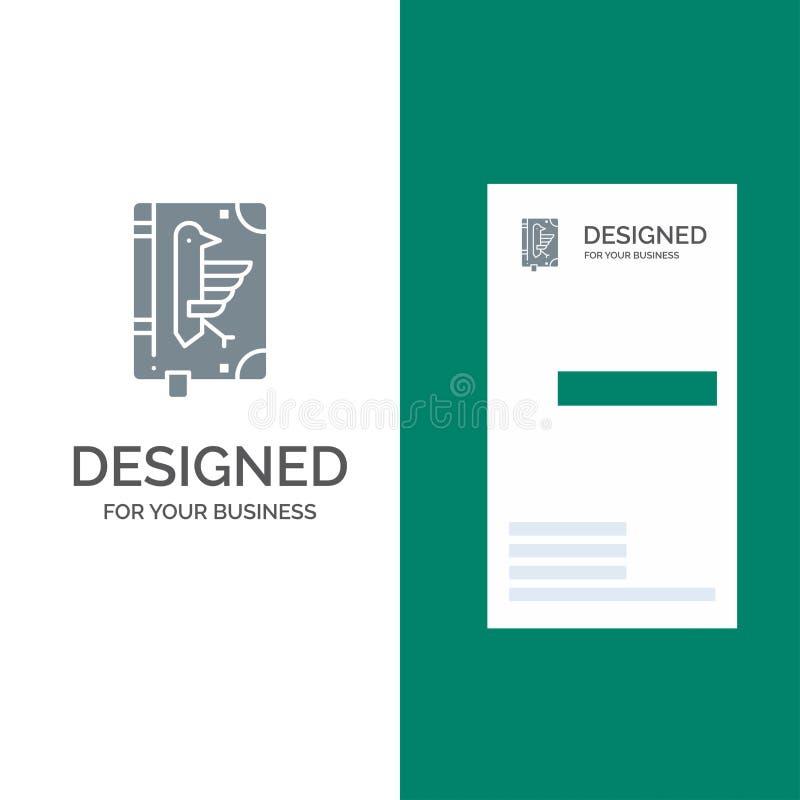 Book, Codex, Constitution, Declaration, Edict Grey Logo Design and Business Card Template stock illustration