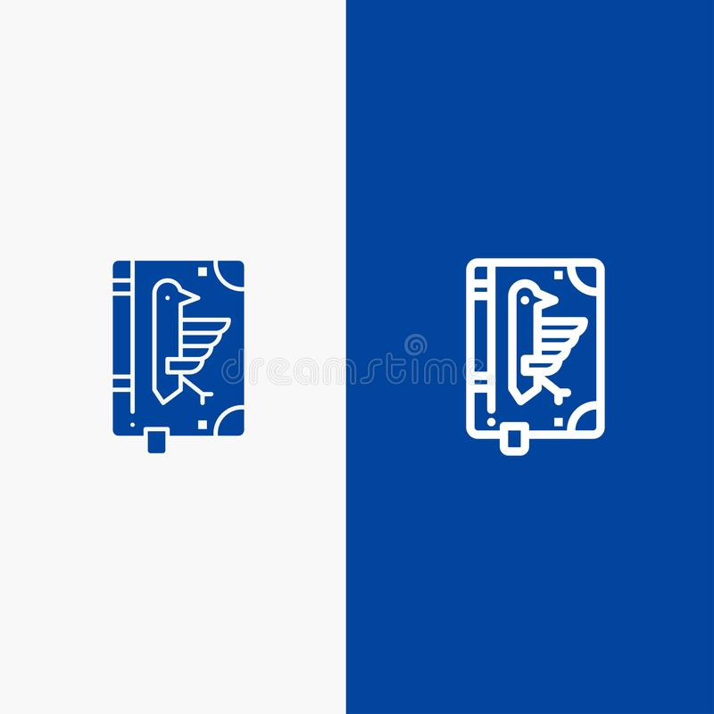 Book, Codex, Constitution, Declaration, Edict Line and Glyph Solid icon Blue banner Line and Glyph Solid icon Blue banner vector illustration