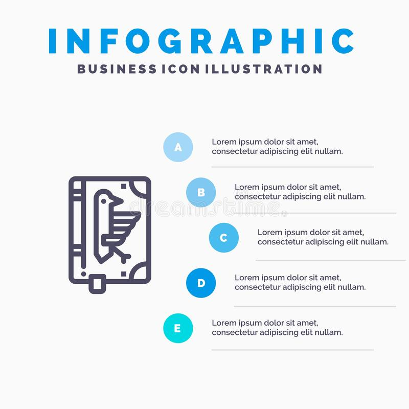 Book, Codex, Constitution, Declaration, Edict Line icon with 5 steps presentation infographics Background stock illustration