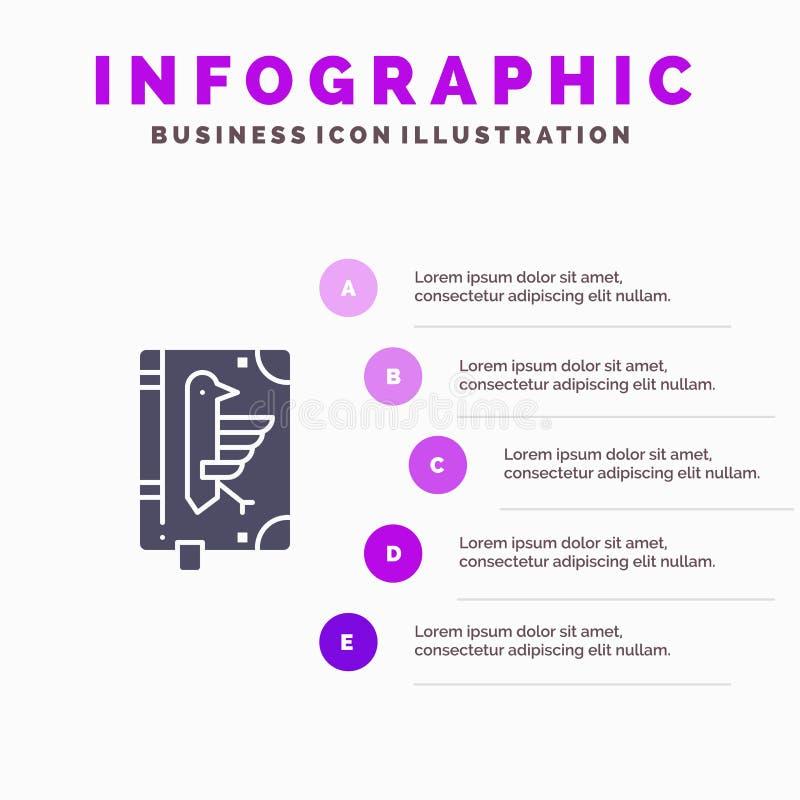 Book, Codex, Constitution, Declaration, Edict Solid Icon Infographics 5 Steps Presentation Background vector illustration