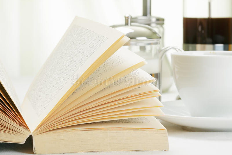 Book and coffee stock photography