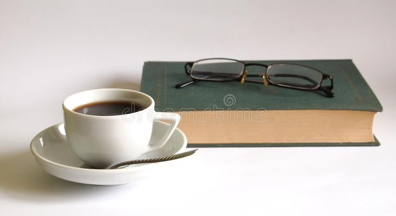 Book and coffee royalty free stock images