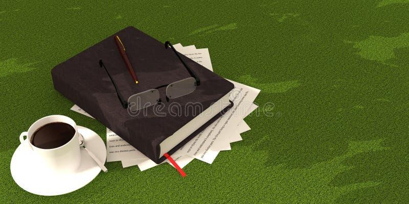 book coffee on green carpet stock illustration