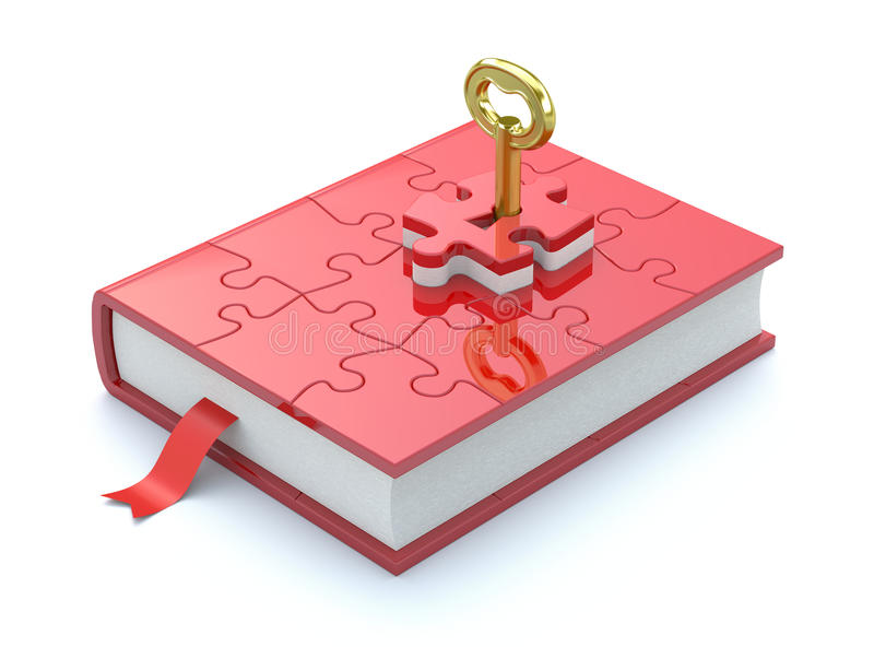 Book concept. Concept with book, puzzle and key stock illustration