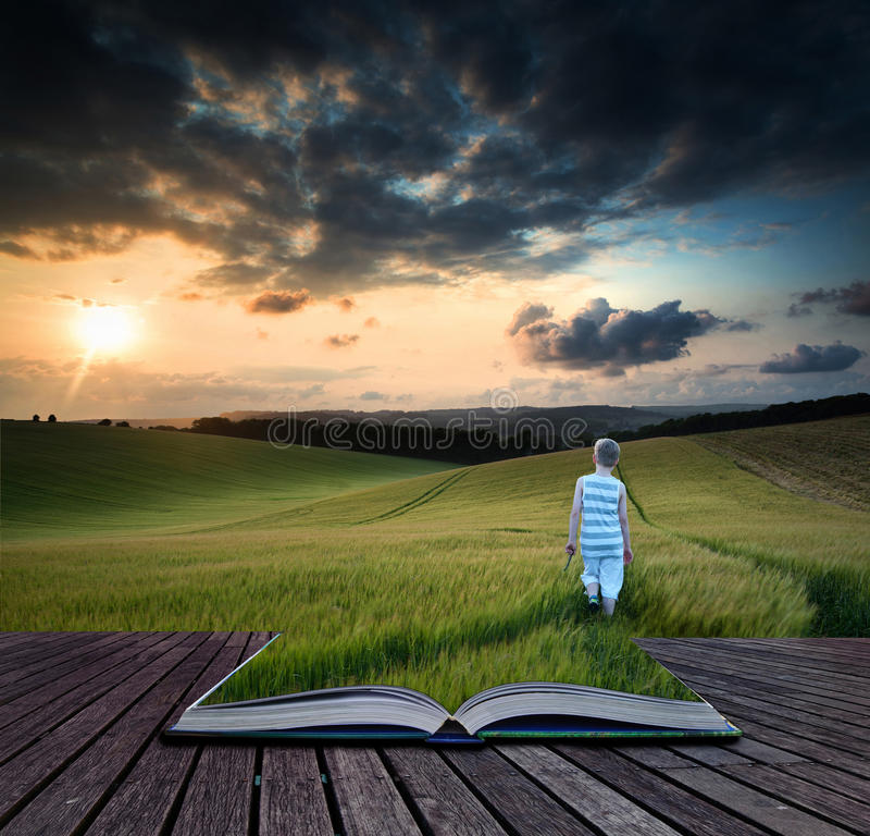 Book concept Concept landscape young boy walking through field a stock image