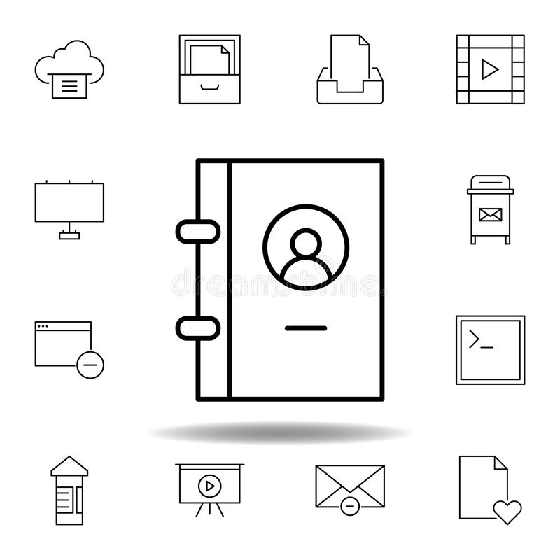 book contact phone outline icon. Detailed set of unigrid multimedia illustrations icons. Can be used for web, logo, mobile app, UI vector illustration