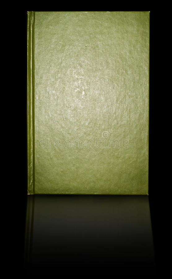 Book cover. A smoothly textured green colored book cover slighly worn on edges stock image