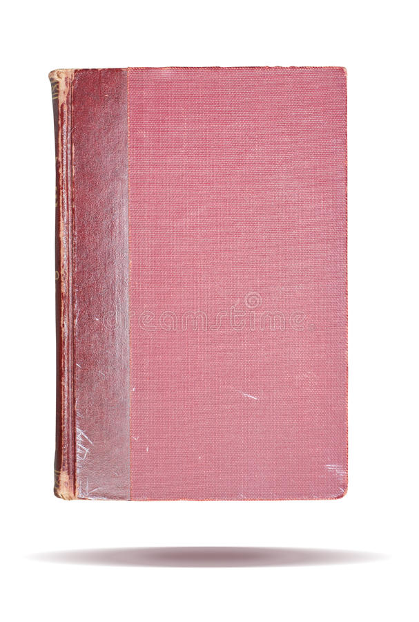 Book cover. A slightly worn and used red book cover with a textured binding stock image