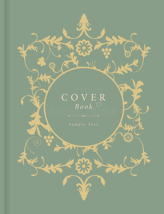 Book cover with decorative background in vintage style vector with ornamental elements stock illustration