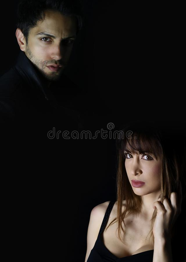 Book cover design . dramatic fashion man and woman royalty free stock photo