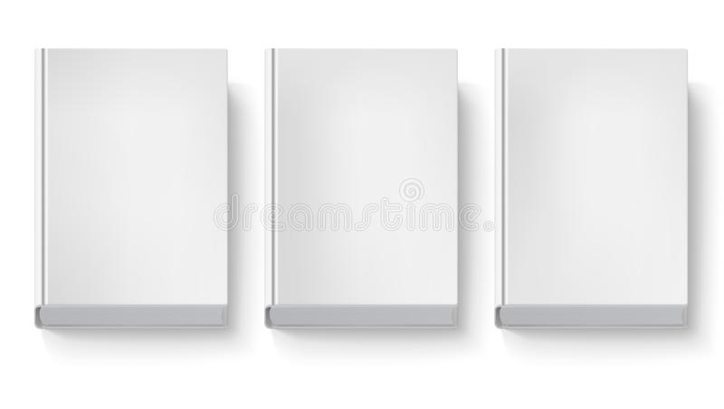 Book cover isolated on white background. Three blank books without text and drawings, top view with shadows. 3D stock illustration