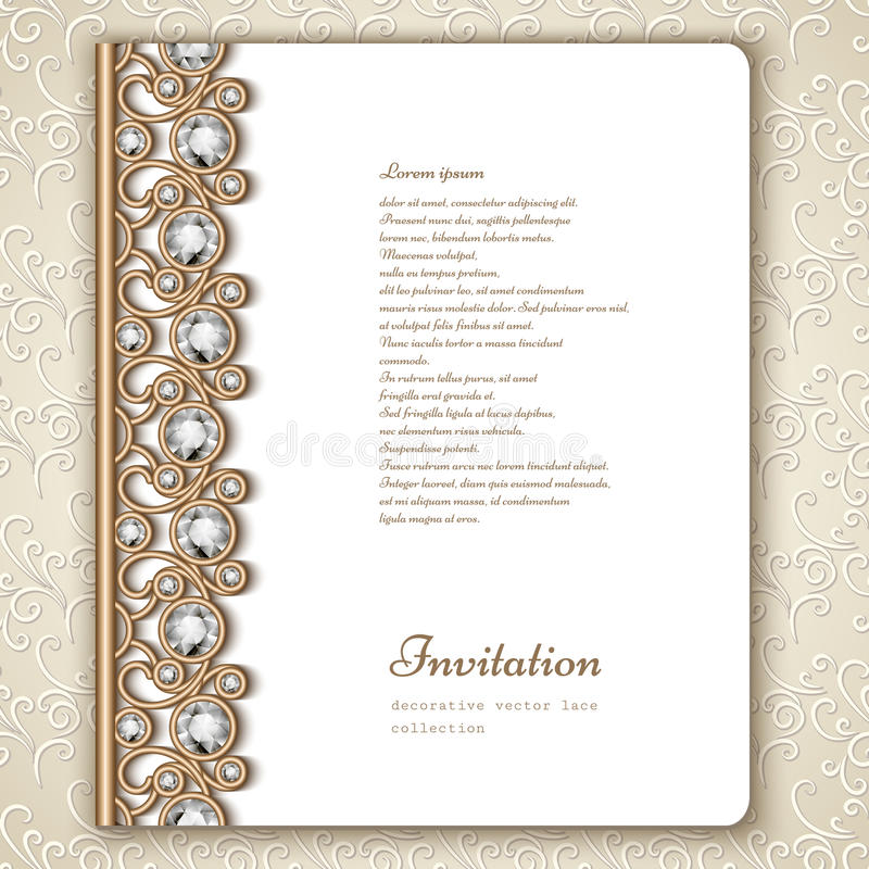 Book cover with jewelry gold border ornament stock illustration