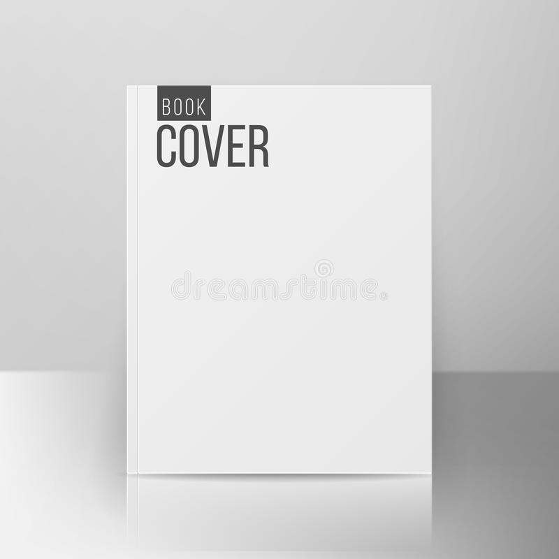 Book Cover Template Vector. Realistic Illustration On Gray Background. Empty White Clean White Mock Up Template stock illustration