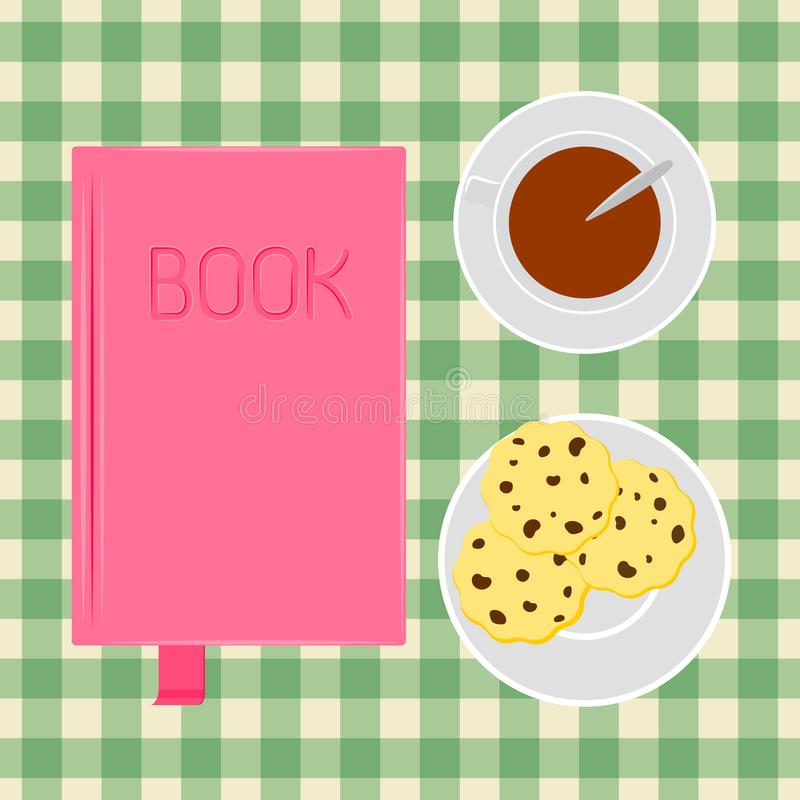 Book, cup of coffee with cookies. Vector illustration. Table top view. Vector illustration. Book on the table coffee with cookies. Vector illustration stock illustration