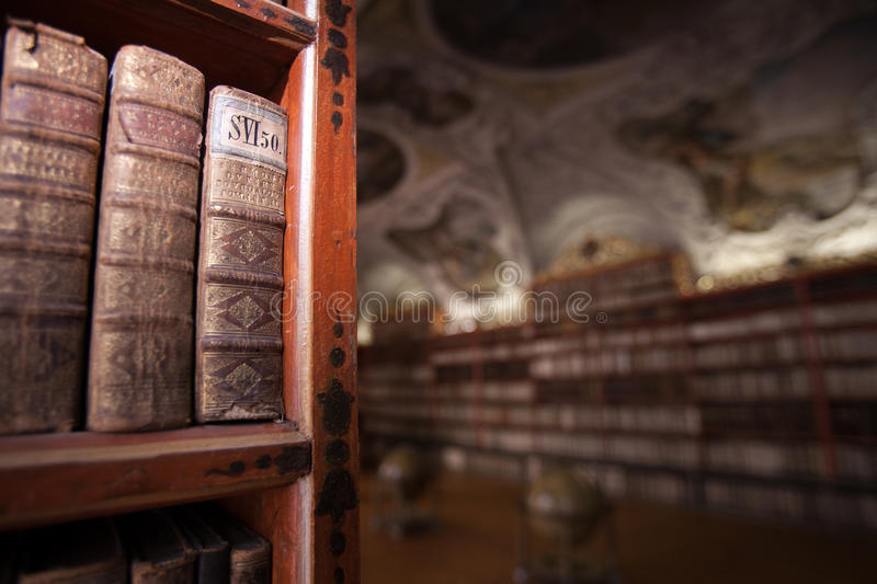 Book detail in Clementinum Library in Prague stock photography