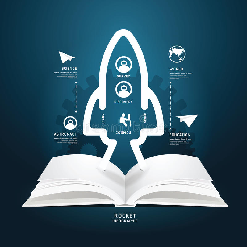 Book diagram creative paper cut aerospace info graphics style. Book diagram creative paper cut aerospace infographics style template / can be used for royalty free illustration