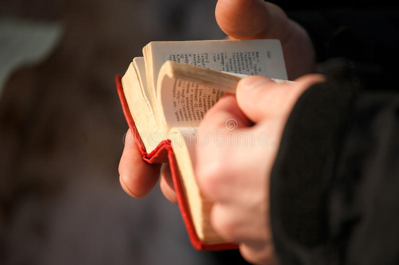 The book the dictionary in hands. On the street stock photography