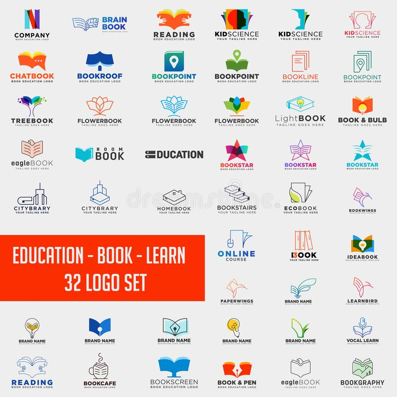 Book education logo collection design abstract,education logo set download. Book education logo collection design abstract, education logo set download - vector royalty free stock image