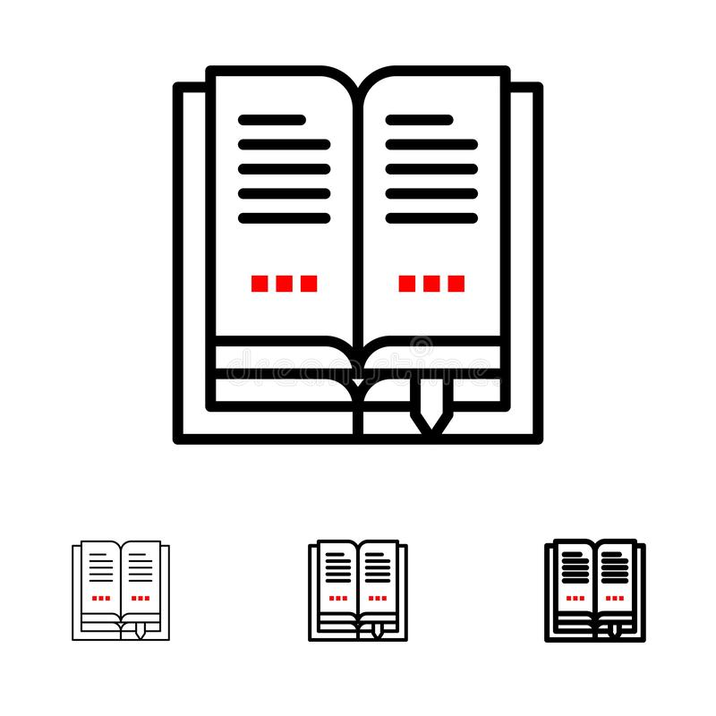 Book, Education, Open Bold and thin black line icon set stock illustration