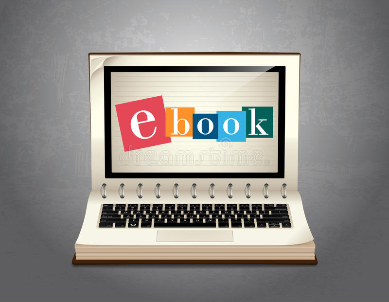 Book of elearning - Ebook learning royalty free illustration